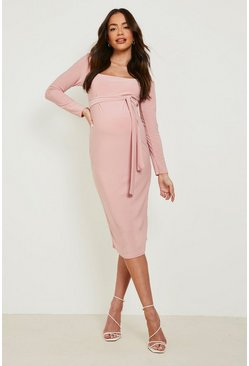 Dusky pink pink Maternity Square Neck Long Sleeve Midi Dress