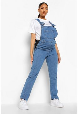 Blue Maternity Denim Tie Strap Dungarees