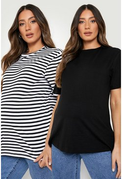 Maternity 2 Pack Boxy T-shirt, Black noir