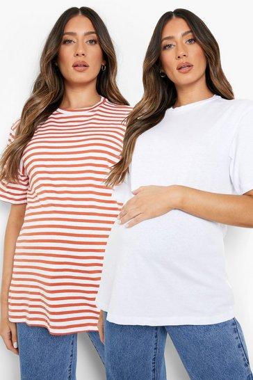 White Maternity 2 Pack Boxy T-Shirt