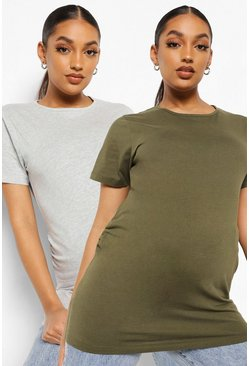 Maternity 2 Pack Cotton T-shirt, Grey-khaki khakifarben
