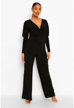 Black Maternity Wrap Front Jumpsuit