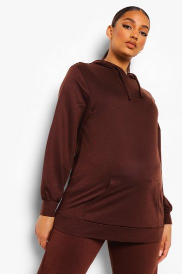 Chocolate Maternity Oversized Hoodie
