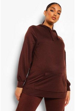 Maternité - Sweat à capuche oversize, Chocolate marron