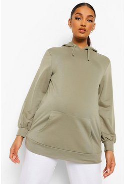 Green Maternity Oversized Hoodie