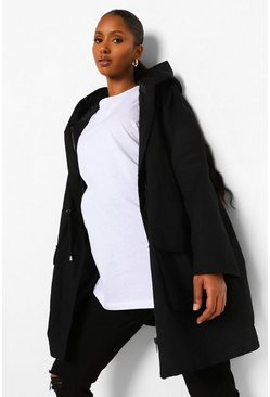 Black Maternity Lightweight Parka