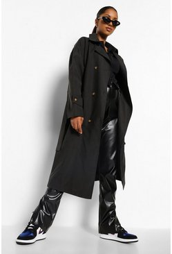 Black Maternity Classic Trench Coat