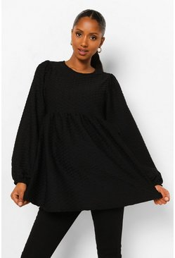 Black Maternity Textured Smock Top