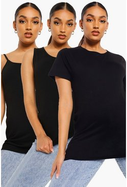 Black Maternity 3 Pack T-shirt, Vest & Cami