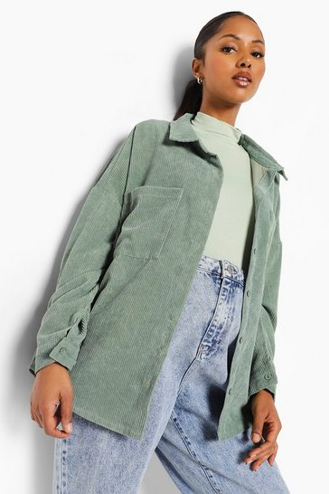 Green Maternity Plush Cord Shirt