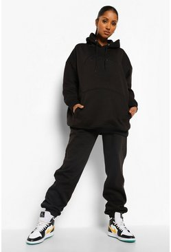 Black Maternity Mama Embroidered Hoody Tracksuit