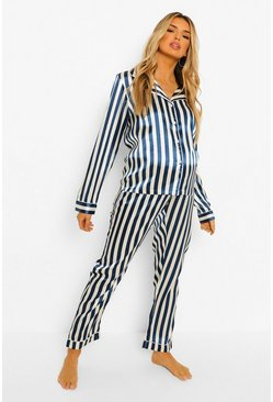 Navy Maternity Pinstripe Satin Pyjama Set