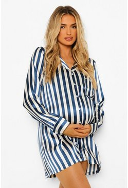 Navy Maternity Pinstripe Satin Nightie