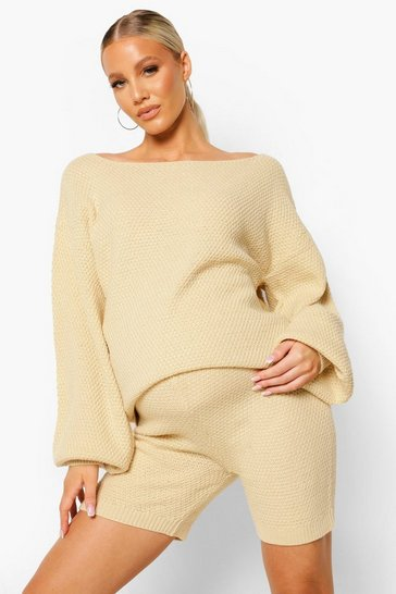 Sand beige Maternity Waffle Knit Short Lounge Set