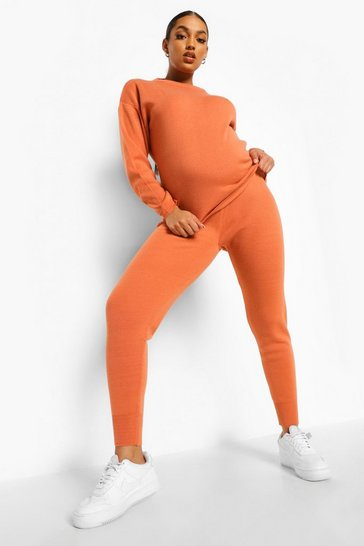 Burnt orange orange Maternity Knitted Lounge Set