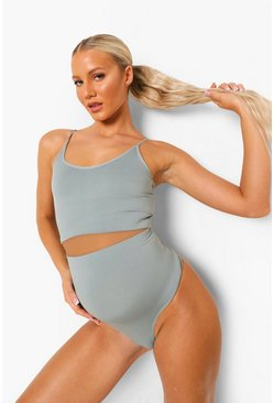 Slate grey Maternity Second Skin Brushed Over Bump Thong