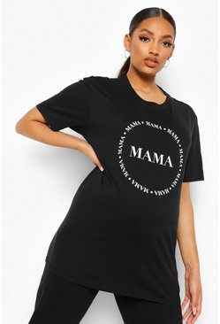Black Maternity 'Mama' Slogan T-shirt