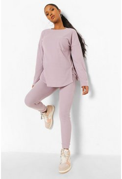 Grey Maternity Brushed Rib Legging Lounge Set
