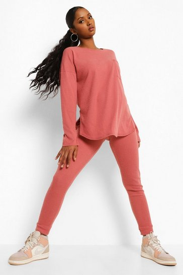 Rose pink Maternity Brushed Rib Legging Lounge Set