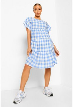 Blue Maternity Gingham Ruffle Sleeve Smock Dress