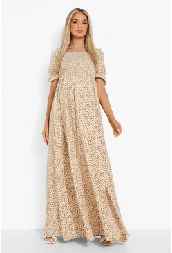 White Maternity Floral Square Neck Maxi Dress