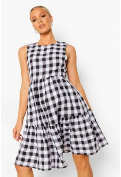 Black svart Maternity Gingham Woven Smock Dress