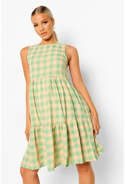 Maternity Gingham Woven Smock Dress, Green grün