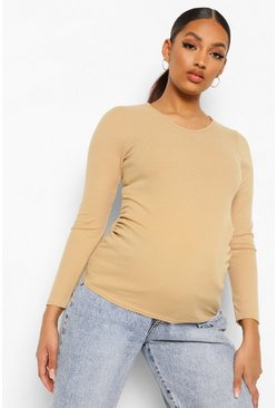 Stone beige Maternity Rib Long Sleeve Ruched T Shirt