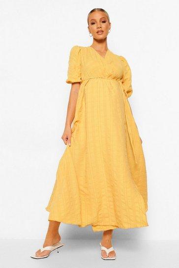 Lemon yellow Maternity Crinkle Wrap Midaxi Dress