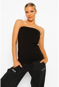 Black Maternity Basic Bandeau Tube Top