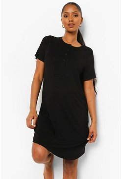 Black Maternity Half Button Front Nightie