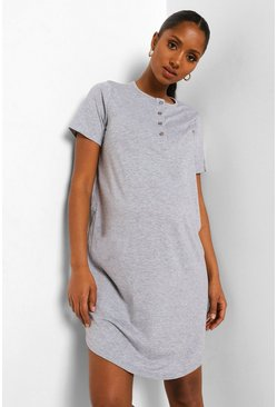 Grey Maternity Half Button Front Nightie