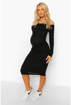 Black Maternity Rib Popper Detail Midi Dress