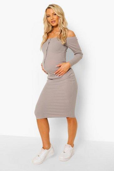 Grey Maternity Rib Popper Detail Midi Dress