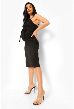 Maternity Rib Tie Waist Midi Dress, Black nero