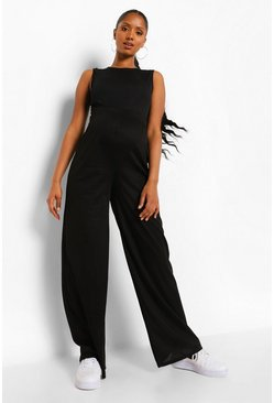 Black Maternity Rib Over Bump Wide Leg Trouser