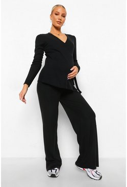 Black Maternity Brushed Rib Wrap Lounge Set