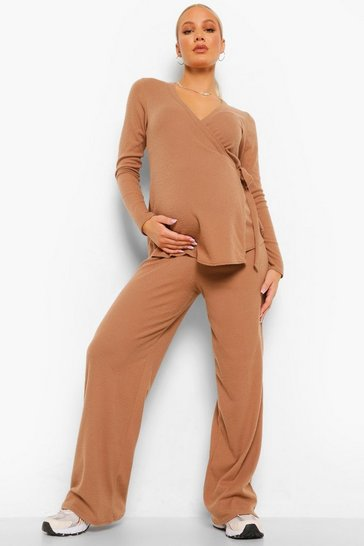 Camel beige Maternity Brushed Rib Wrap Lounge Set