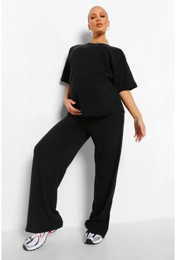 Black Maternity Brushed Rib Slouchy Lounge Set