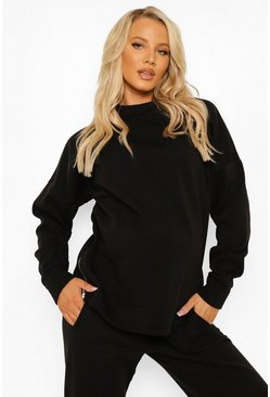Black Maternity Side Zip Sweatshirt