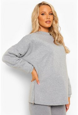 Grey Maternity Side Zip Sweatshirt, Серый меланж Серый