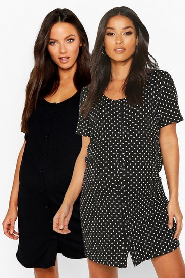 Black Maternity 2pk Button Front Nightie