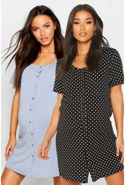 Grey Maternity 2pk Button Front Nightie