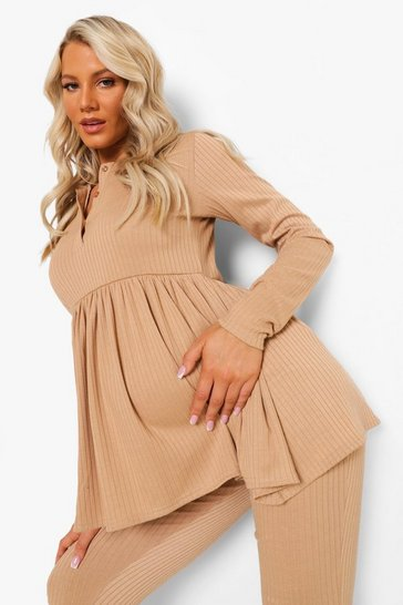 Stone beige Maternity Button Front Smock Lounge Set