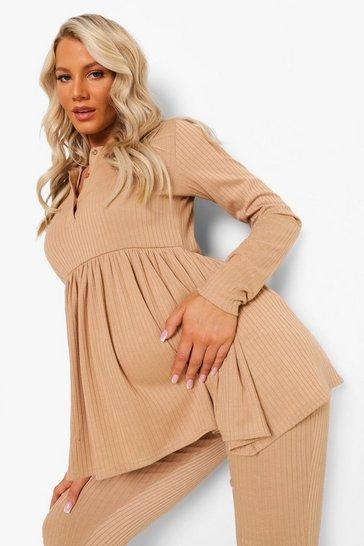 Stone beige Maternity Button Front Smock Loungewear Set