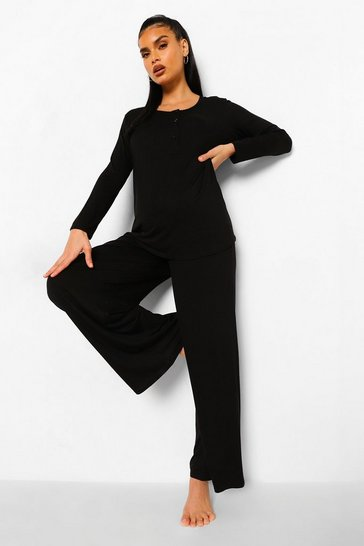 Black Maternity Nursing Button Front Pj Set