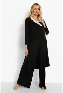 Black Maternity Nursing Lace Trim Robe Pj Trouser Set