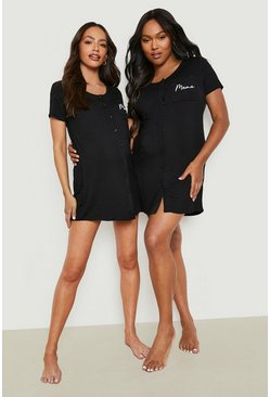 Black Maternity Mama Pocket Print Button Nightie