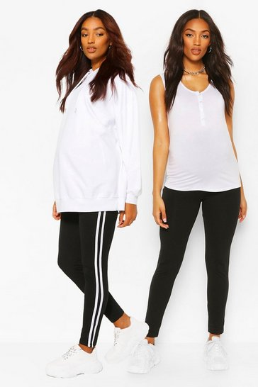 Black Maternity Stripe And Jersey 2pk Leggings