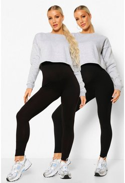 Black Maternity Rib And Jersey 2pk Legging
